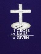 One Cross white and gray design on purple t-shirt